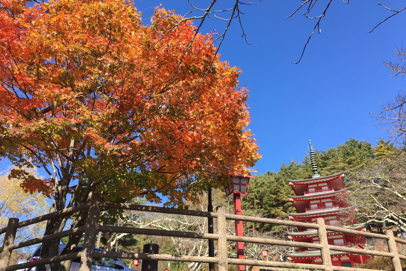 忠霊塔と赤く色付いた紅葉