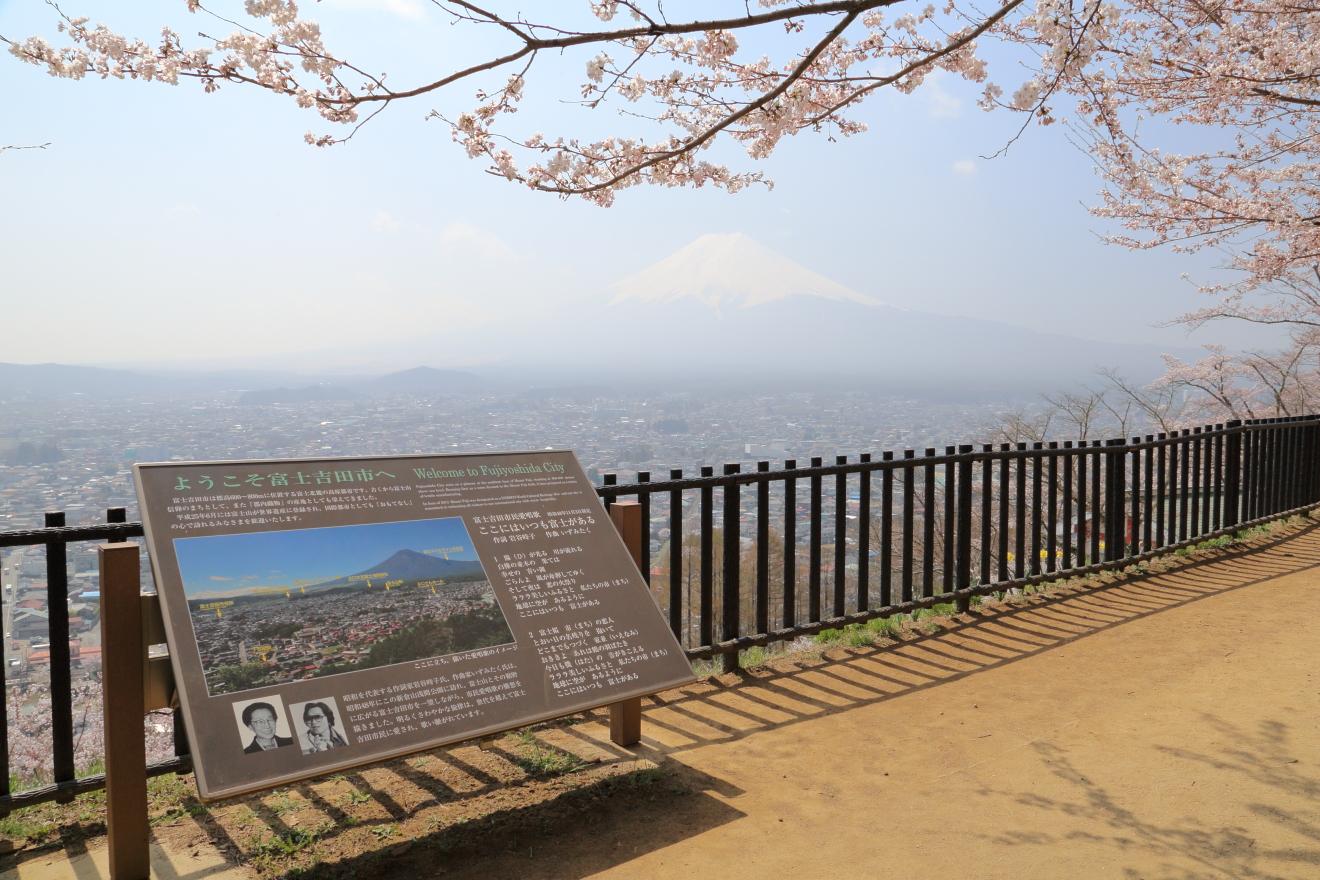 新倉山浅間公園から見た富士吉田市街地