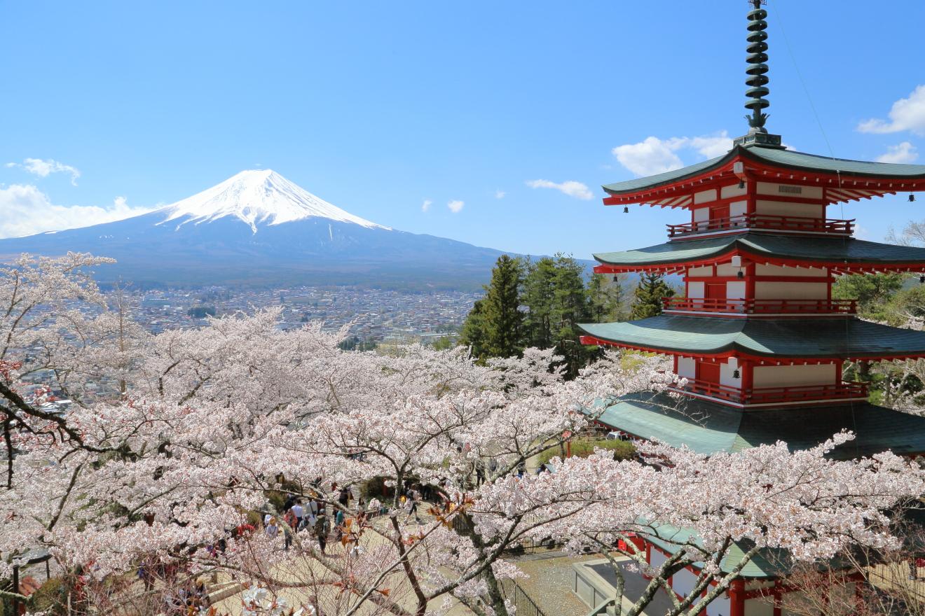 展望デッキからの忠霊塔と富士山