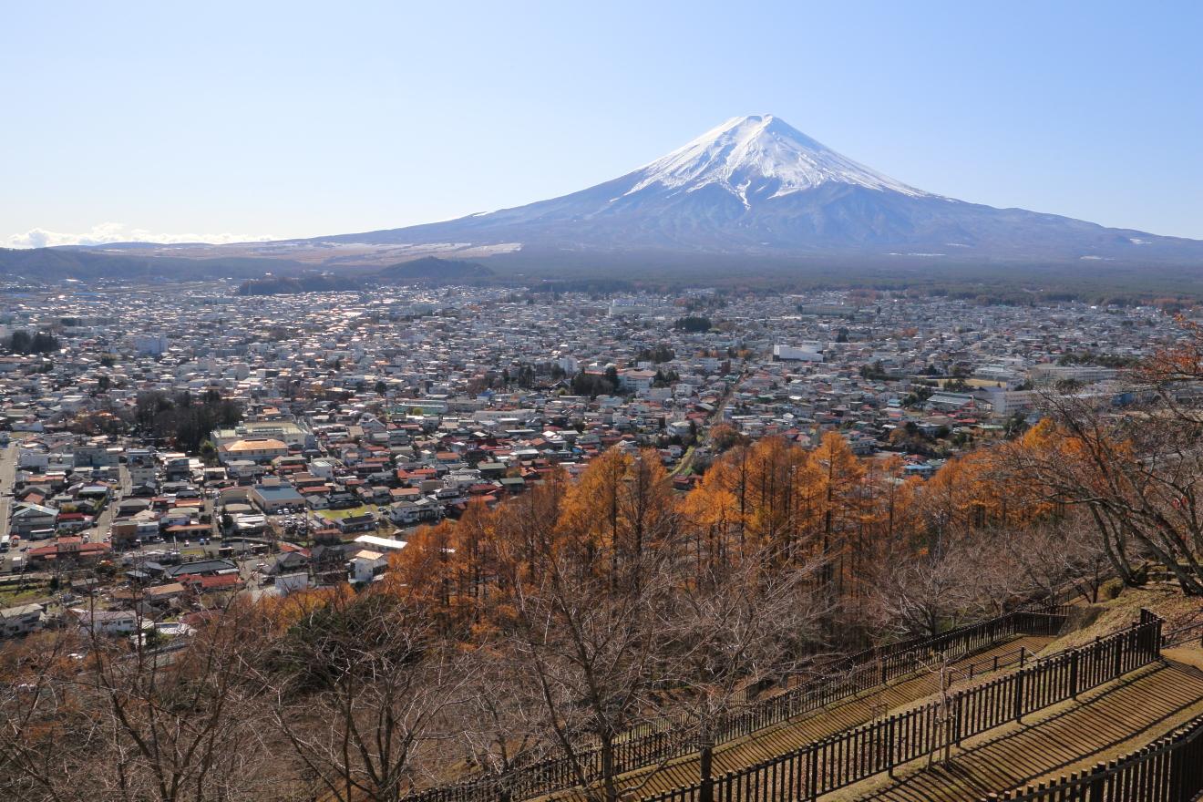 新倉山浅間公園の東屋からの眺め